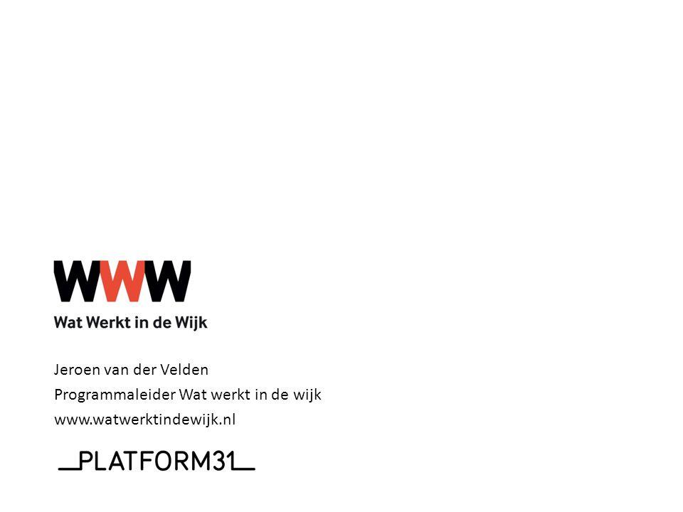 Jeroen van der Velden Programmaleider Wat werkt in de wijk www.watwerktindewijk.nl