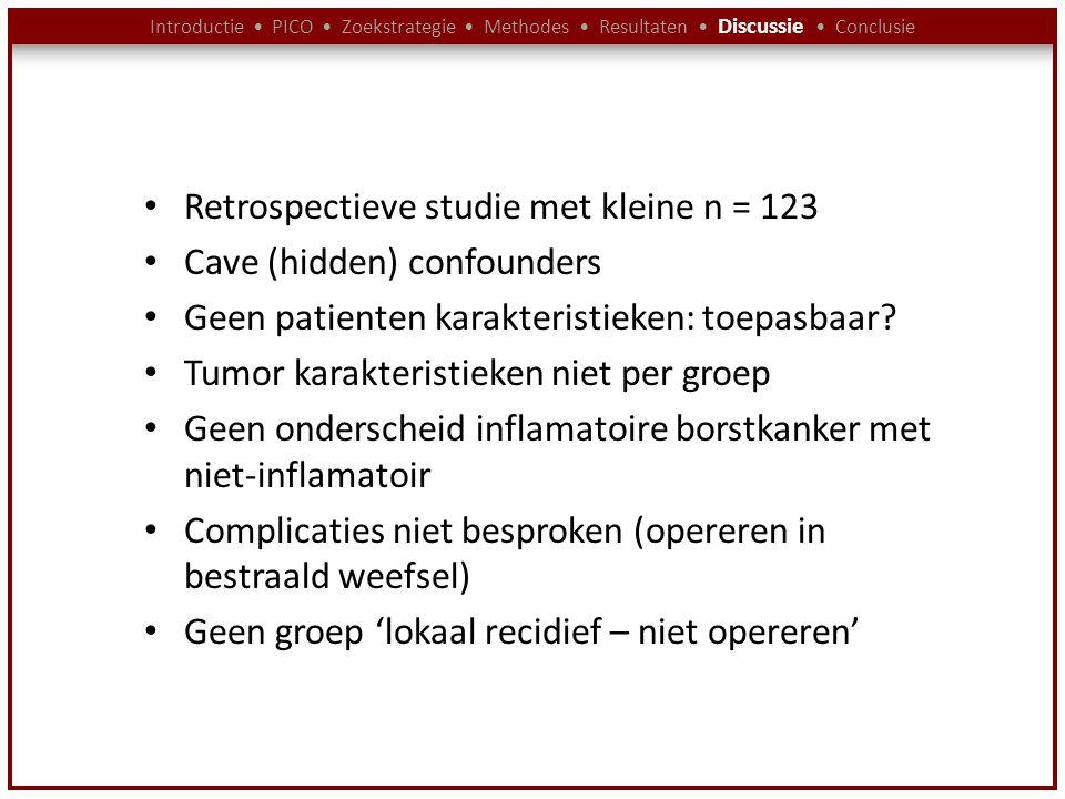 Introductie PICO Zoekstrategie Methodes Resultaten Discussie Conclusie Retrospectieve studie met kleine n = 123 Cave (hidden) confounders Geen patient