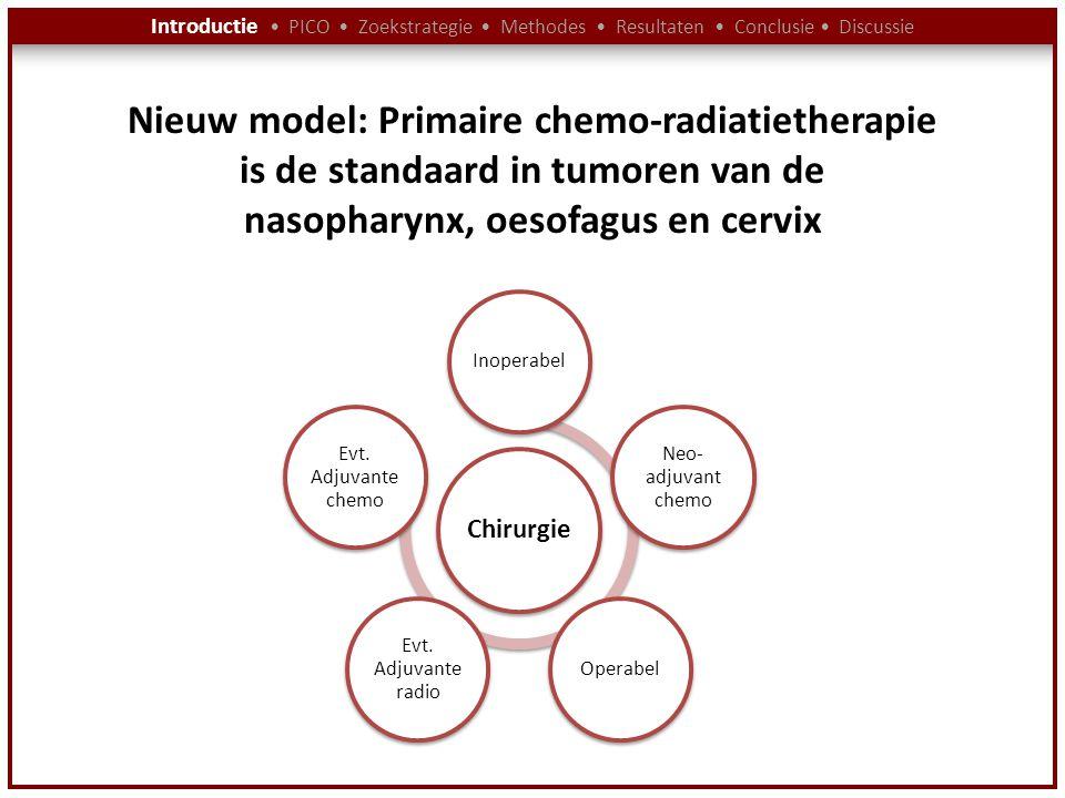 Introductie PICO Zoekstrategie Methodes Resultaten Conclusie Discussie Nieuw model: Primaire chemo-radiatietherapie is de standaard in tumoren van de