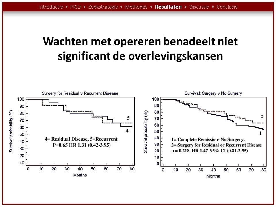 Introductie PICO Zoekstrategie Methodes Resultaten Discussie Conclusie Wachten met opereren benadeelt niet significant de overlevingskansen