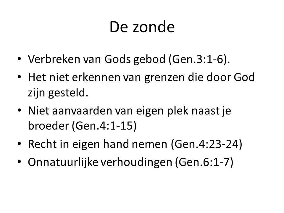De zonde Verbreken van Gods gebod (Gen.3:1-6). Het niet erkennen van grenzen die door God zijn gesteld. Niet aanvaarden van eigen plek naast je broede