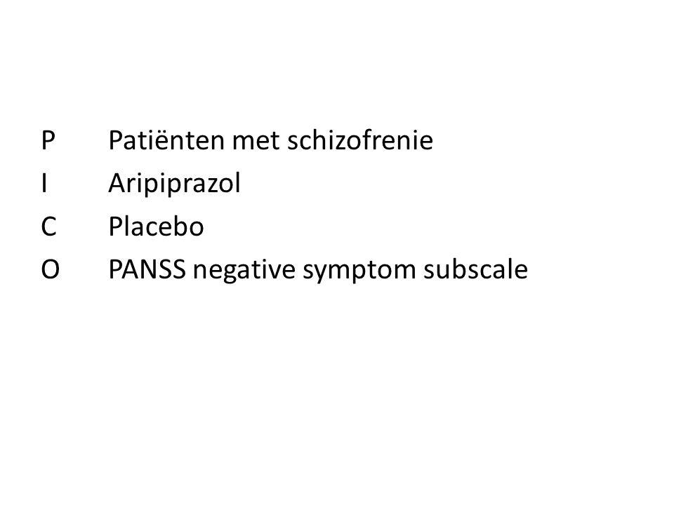 PPatiënten met schizofrenie IAripiprazol CPlacebo OPANSS negative symptom subscale