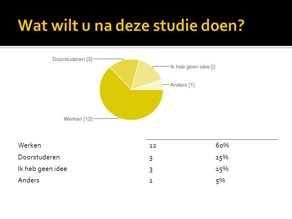 Werken1260% Doorstuderen315% Ik heb geen idee315% Anders15%
