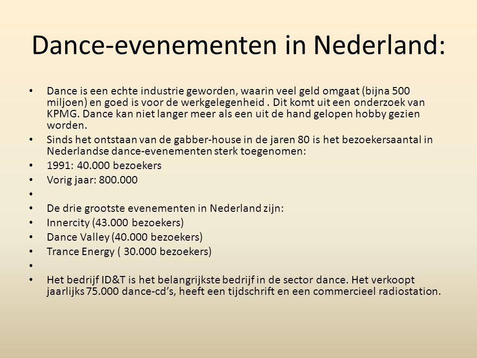 Dance-evenementen in Nederland: Dance is een echte industrie geworden, waarin veel geld omgaat (bijna 500 miljoen) en goed is voor de werkgelegenheid.