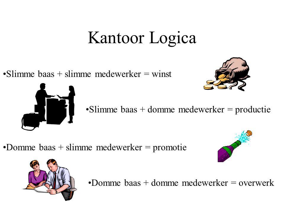 Kantoor Logica Slimme baas + slimme medewerker = winst Slimme baas + domme medewerker = productie Domme baas + slimme medewerker = promotie Domme baas