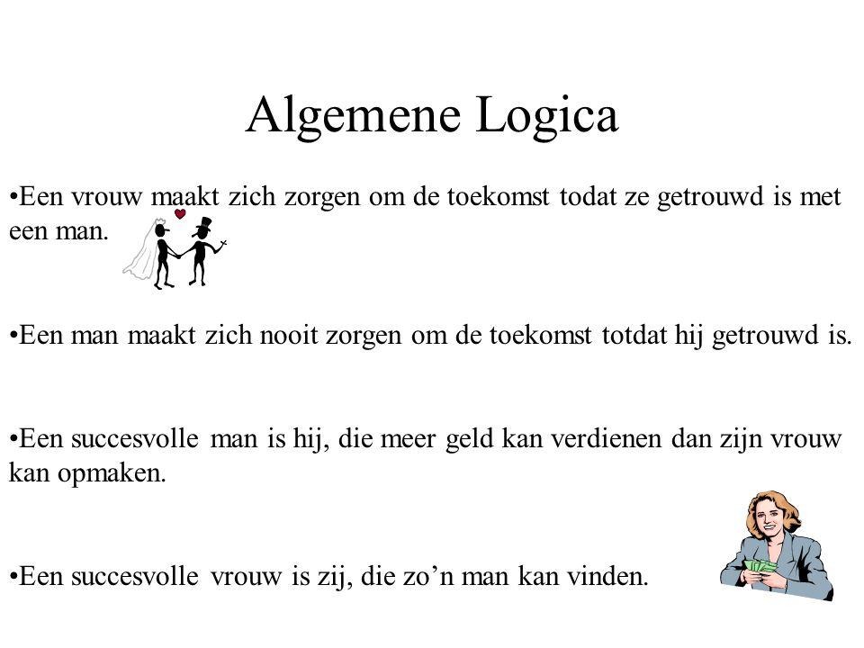 Algemene Logica Een vrouw maakt zich zorgen om de toekomst todat ze getrouwd is met een man. Een man maakt zich nooit zorgen om de toekomst totdat hij