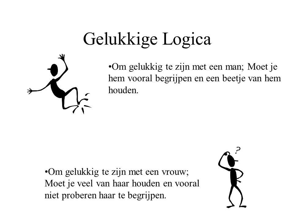Gelukkige Logica Om gelukkig te zijn met een man; Moet je hem vooral begrijpen en een beetje van hem houden. Om gelukkig te zijn met een vrouw; Moet j