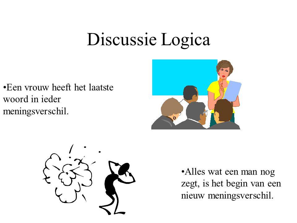 Discussie Logica Een vrouw heeft het laatste woord in ieder meningsverschil. Alles wat een man nog zegt, is het begin van een nieuw meningsverschil.
