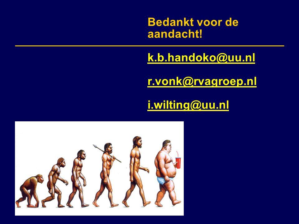 Bedankt voor de aandacht! k.b.handoko@uu.nl r.vonk@rvagroep.nl i.wilting@uu.nl k.b.handoko@uu.nl