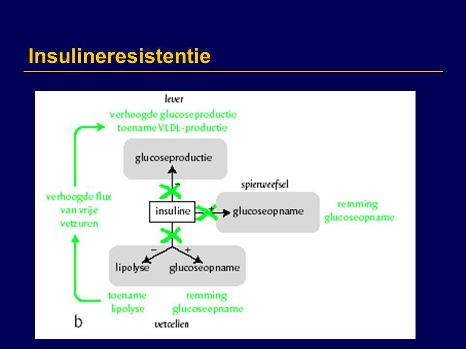 Metabool syndroom 1988 Reaven: Syndroom X Clustering cardiovasculaire en metabole risicofactoren –  glucose en insuline metabolisme –abdominale obesitas –atherogene dislipidemie –hypertensie 1998 WHO: Metabool syndroom