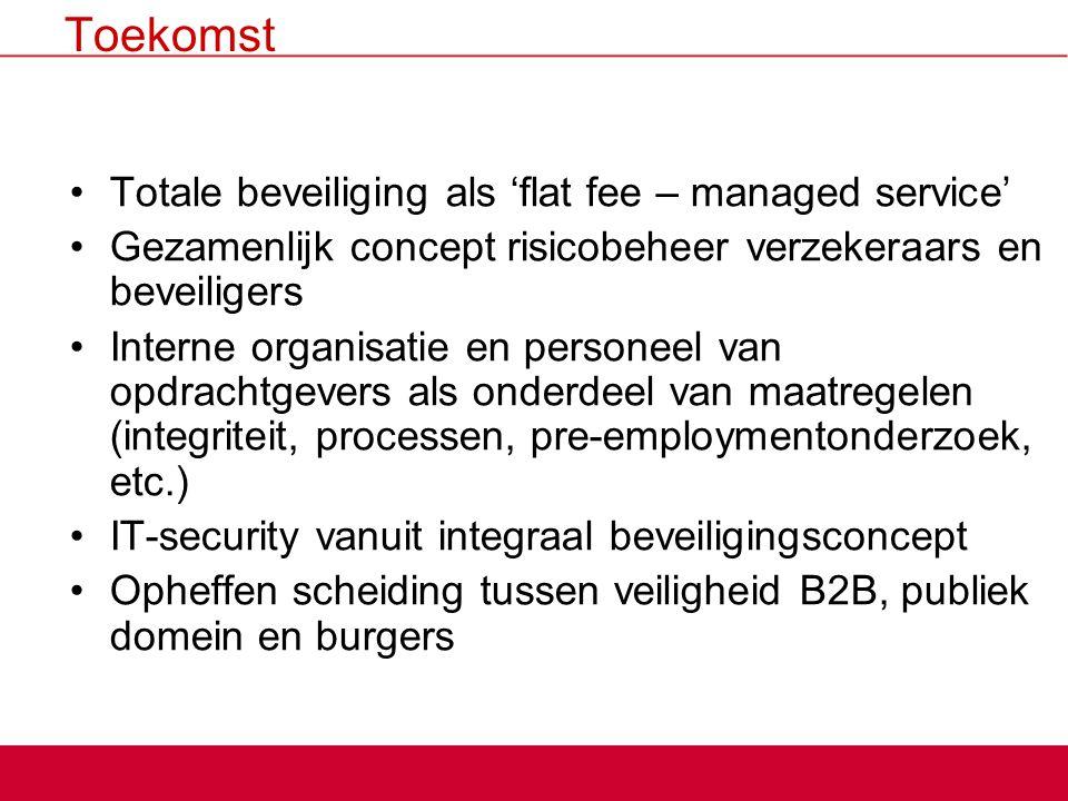Toekomst Totale beveiliging als 'flat fee – managed service' Gezamenlijk concept risicobeheer verzekeraars en beveiligers Interne organisatie en perso