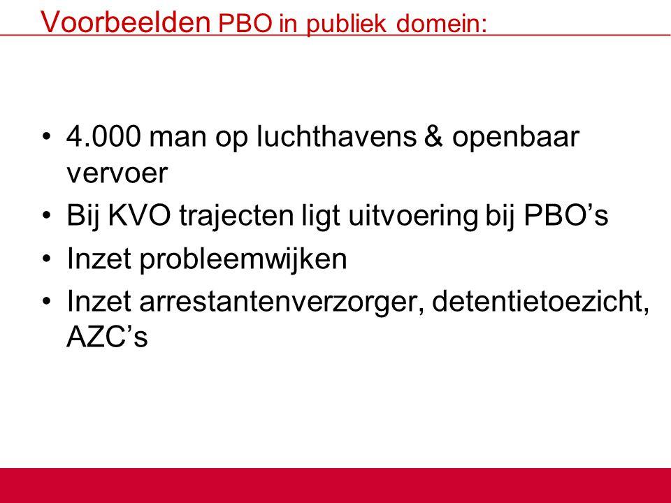 Voorbeelden PBO in publiek domein: 4.000 man op luchthavens & openbaar vervoer Bij KVO trajecten ligt uitvoering bij PBO's Inzet probleemwijken Inzet