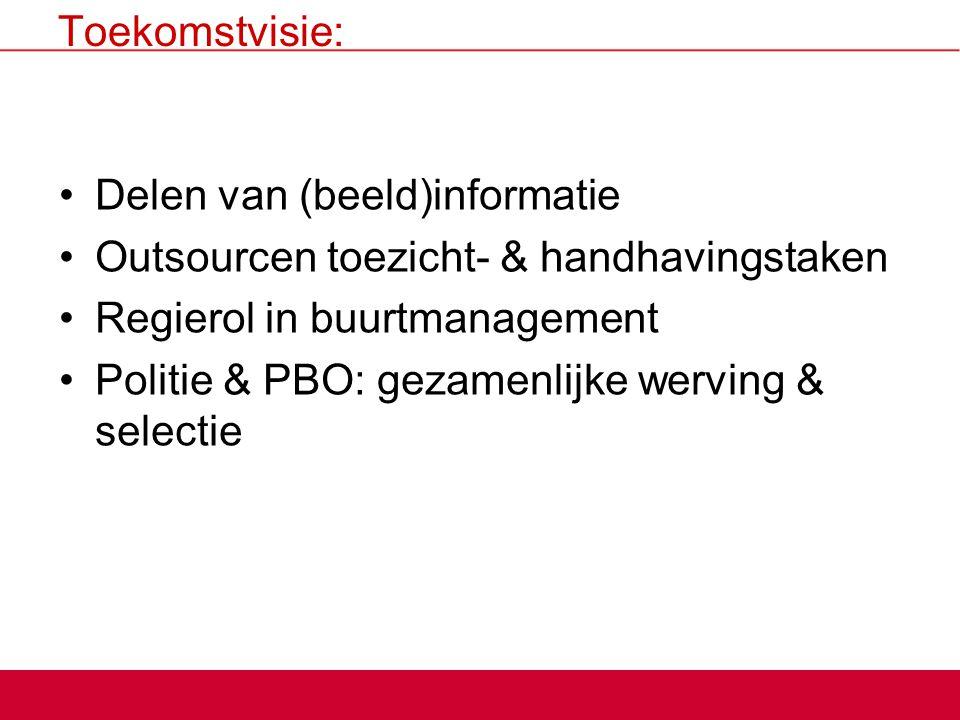 Toekomstvisie: Delen van (beeld)informatie Outsourcen toezicht- & handhavingstaken Regierol in buurtmanagement Politie & PBO: gezamenlijke werving & s