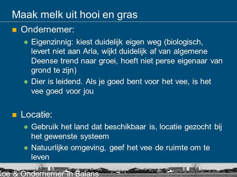 Koe & Ondernemer in Balans Maak melk uit hooi en gras Ondernemer: Eigenzinnig: kiest duidelijk eigen weg (biologisch, levert niet aan Arla, wijkt duid