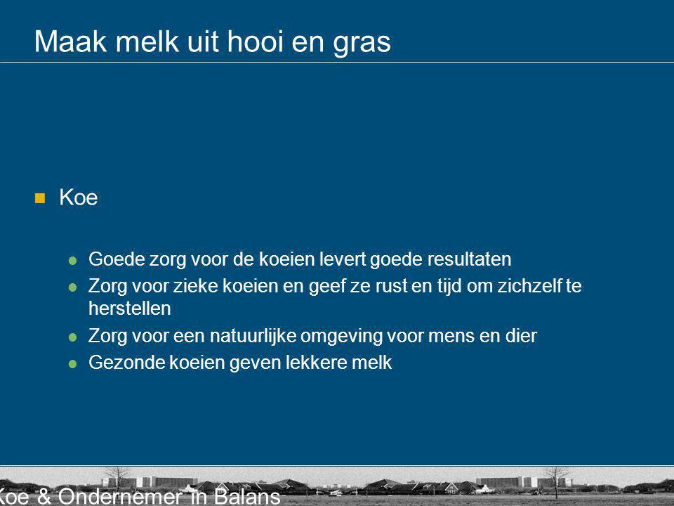 Koe & Ondernemer in Balans Maak melk uit hooi en gras Koe Goede zorg voor de koeien levert goede resultaten Zorg voor zieke koeien en geef ze rust en