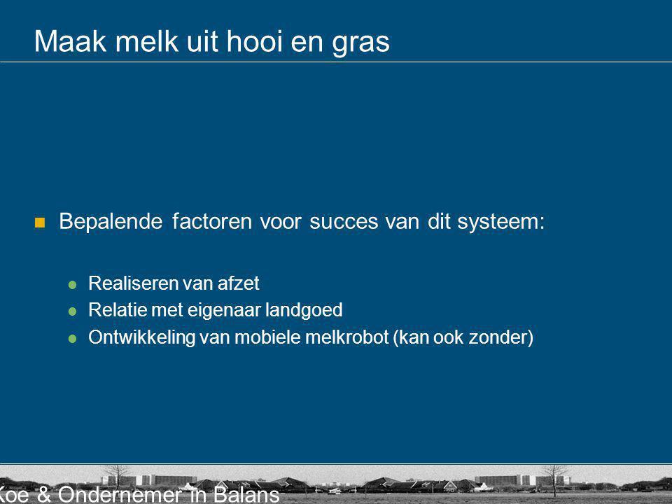 Koe & Ondernemer in Balans Maak melk uit hooi en gras Bepalende factoren voor succes van dit systeem: Realiseren van afzet Relatie met eigenaar landgo