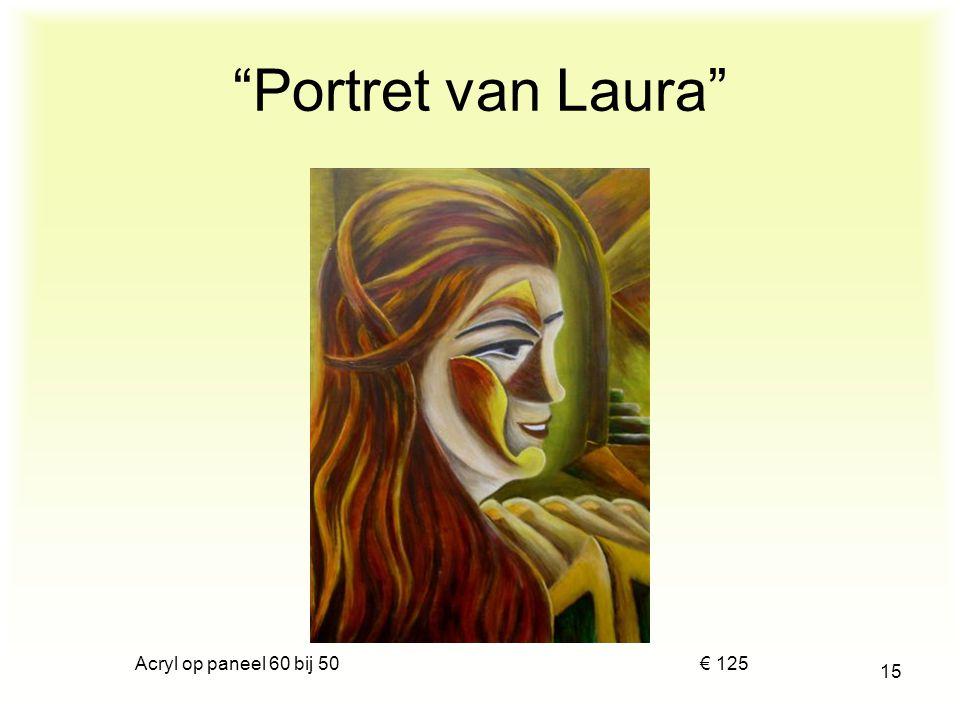 """Acryl op papier 35 bij 40 € 100 14 """"Vrouw met hoedje en stola"""""""
