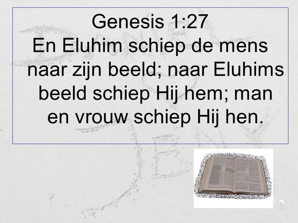 Genesis 1:27 En Eluhim schiep de mens naar zijn beeld; naar Eluhims beeld schiep Hij hem; man en vrouw schiep Hij hen.