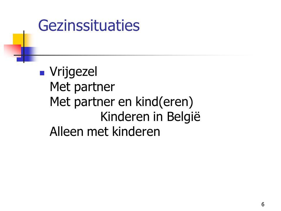 6 Gezinssituaties Vrijgezel Met partner Met partner en kind(eren) Kinderen in België Alleen met kinderen