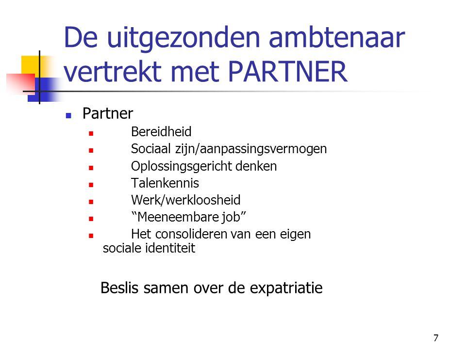 7 De uitgezonden ambtenaar vertrekt met PARTNER Partner Bereidheid Sociaal zijn/aanpassingsvermogen Oplossingsgericht denken Talenkennis Werk/werkloos