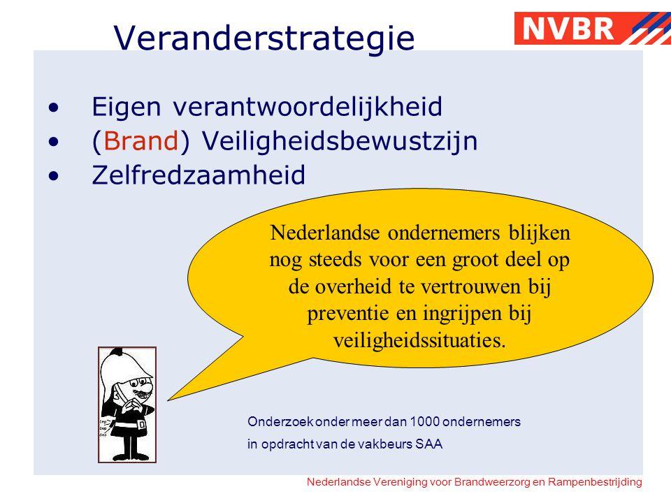 Nederlandse Vereniging voor Brandweerzorg en Rampenbestrijding Veranderstrategie Eigen verantwoordelijkheid (Brand) Veiligheidsbewustzijn Zelfredzaamheid Nederlandse ondernemers blijken nog steeds voor een groot deel op de overheid te vertrouwen bij preventie en ingrijpen bij veiligheidssituaties.