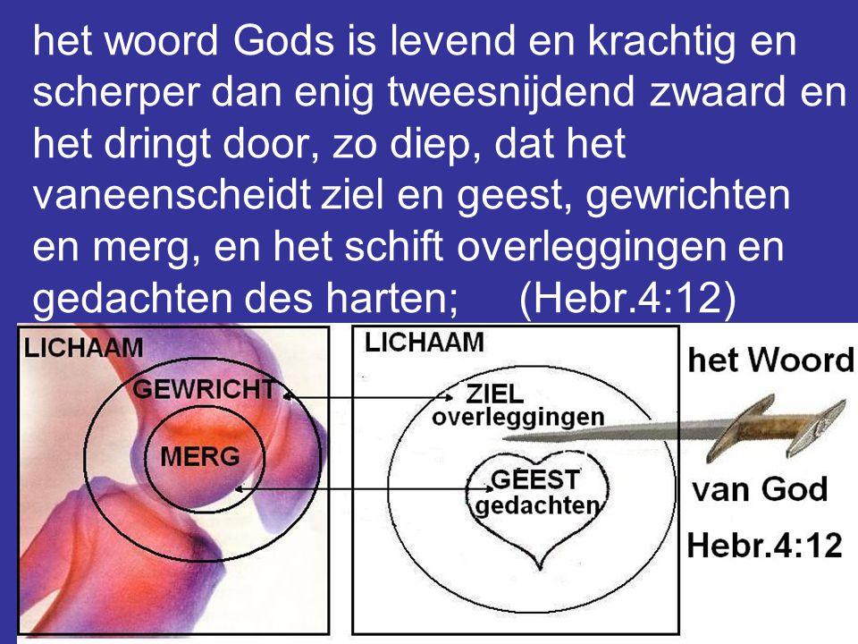 14 het woord Gods is levend en krachtig en scherper dan enig tweesnijdend zwaard en het dringt door, zo diep, dat het vaneenscheidt ziel en geest, gewrichten en merg, en het schift overleggingen en gedachten des harten; (Hebr.4:12)