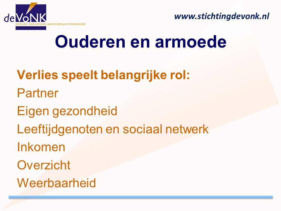 www.stichtingdevonk.nl Ouderen en armoede Verlies speelt belangrijke rol: Partner Eigen gezondheid Leeftijdgenoten en sociaal netwerk Inkomen Overzich