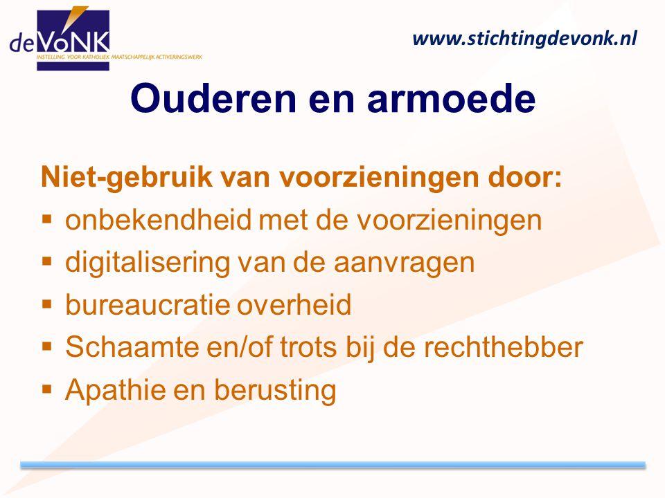 www.stichtingdevonk.nl Ouderen en armoede Niet-gebruik van voorzieningen door:  onbekendheid met de voorzieningen  digitalisering van de aanvragen 