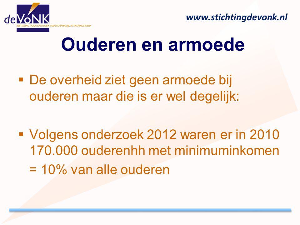 www.stichtingdevonk.nl Ouderen en armoede  De overheid ziet geen armoede bij ouderen maar die is er wel degelijk:  Volgens onderzoek 2012 waren er i