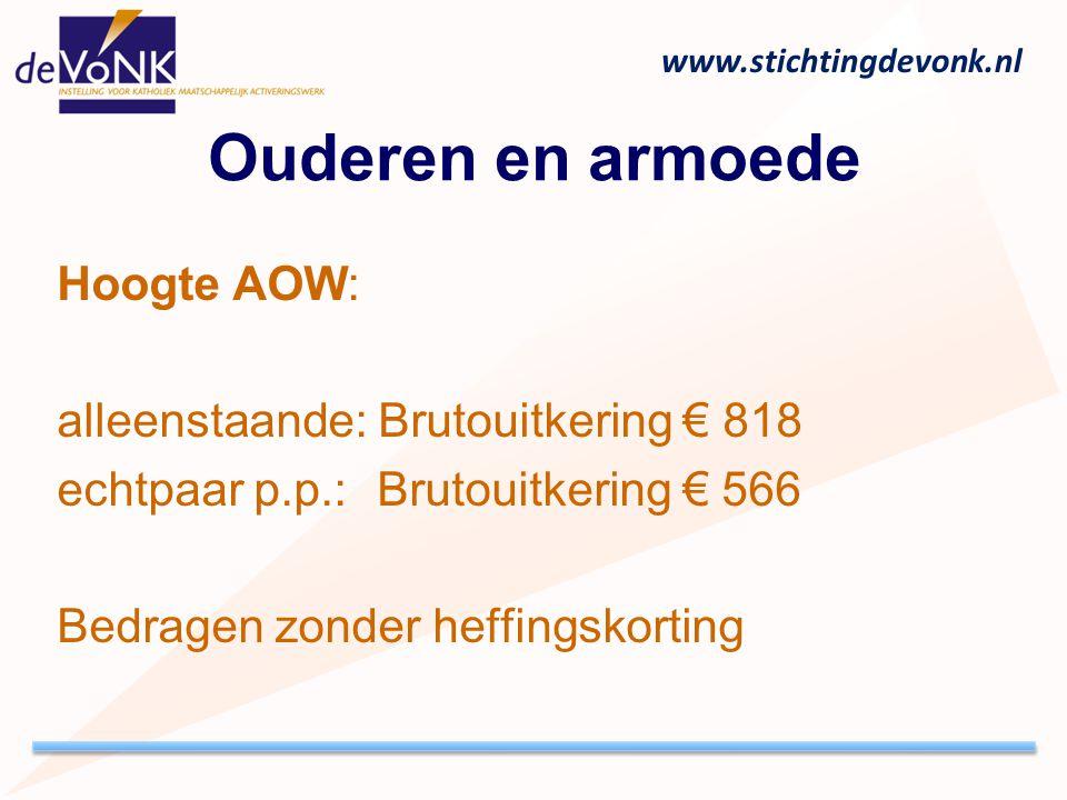 www.stichtingdevonk.nl Ouderen en armoede Hoogte AOW: alleenstaande: Brutouitkering € 818 echtpaar p.p.: Brutouitkering € 566 Bedragen zonder heffings