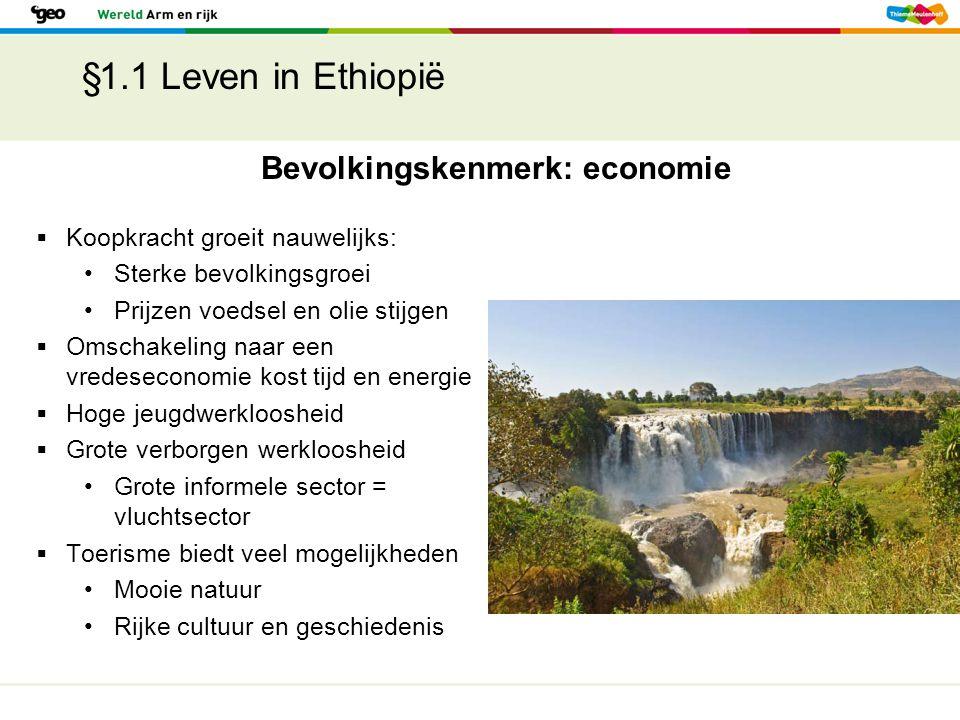 §1.1 Leven in Ethiopië  Koopkracht groeit nauwelijks: Sterke bevolkingsgroei Prijzen voedsel en olie stijgen  Omschakeling naar een vredeseconomie k