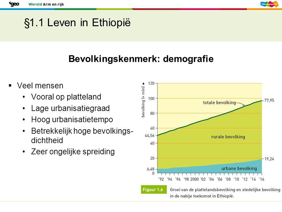 §1.1 Leven in Ethiopië Bevolkingskenmerk: demografie  Veel mensen Vooral op platteland Lage urbanisatiegraad Hoog urbanisatietempo Betrekkelijk hoge