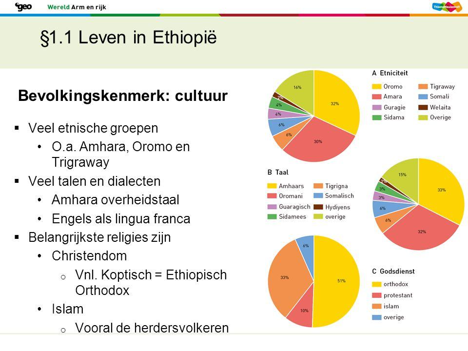 §1.1 Leven in Ethiopië Bevolkingskenmerk: cultuur  Veel etnische groepen O.a. Amhara, Oromo en Trigraway  Veel talen en dialecten Amhara overheidsta