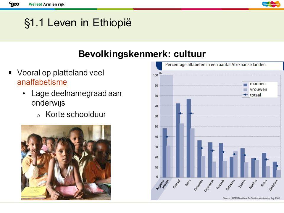 §1.1 Leven in Ethiopië Bevolkingskenmerk: cultuur  Vooral op platteland veel analfabetisme analfabetisme Lage deelnamegraad aan onderwijs o Korte sch