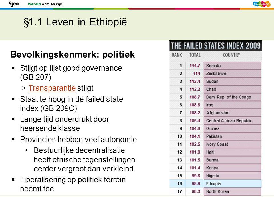 §1.1 Leven in Ethiopië Bevolkingskenmerk: politiek  Stijgt op lijst good governance (GB 207) > Transparantie stijgtTransparantie  Staat te hoog in d