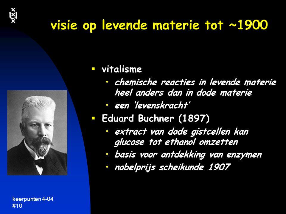 keerpunten 4-04 #9 visie op levende materie tot ~1900  vitalisme stoffen in levende organismen zijn fundamenteel anders dan die in dode materie  all