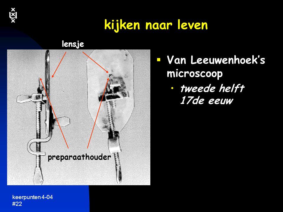 keerpunten 4-04 #21 het concept cel  de eerste 'cellen' gezien door Hooke in 1665 dunne plakjes kurk eigenlijk de wanden van cellen die overbleven na hun afsterven