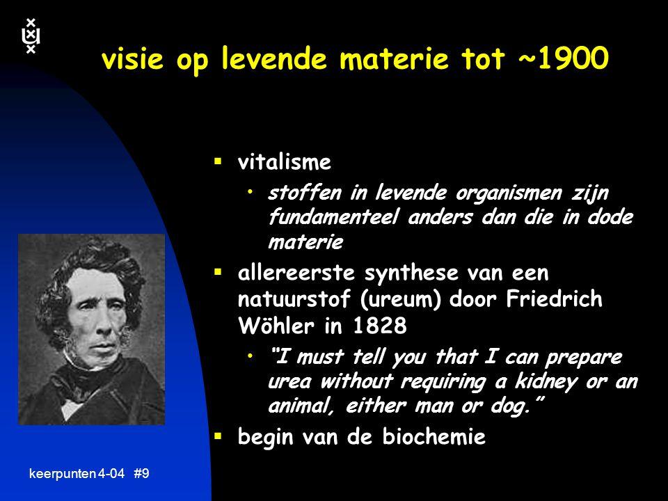 keerpunten 4-04 #8 visie op levende materie  vitalisme stoffen in levende organismen zijn fundamenteel anders dan die in dode materie  allereerste synthese van een natuurstof (ureum) door Friedrich Wöhler in WANNEER...