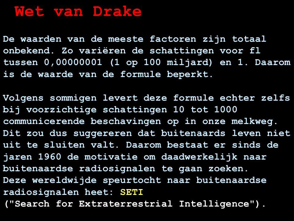 Wet van Drake De waarden van de meeste factoren zijn totaal onbekend.