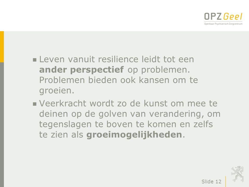 Slide 12 n Leven vanuit resilience leidt tot een ander perspectief op problemen. Problemen bieden ook kansen om te groeien. n Veerkracht wordt zo de k