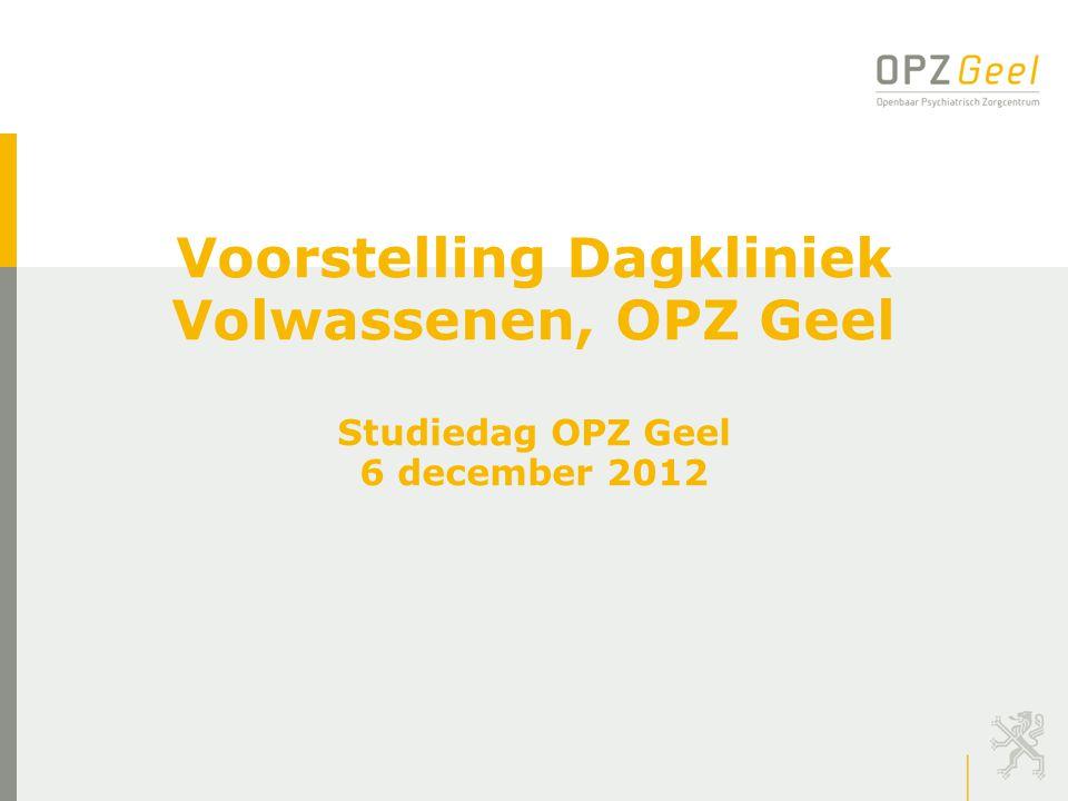 Voorstelling Dagkliniek Volwassenen, OPZ Geel Studiedag OPZ Geel 6 december 2012