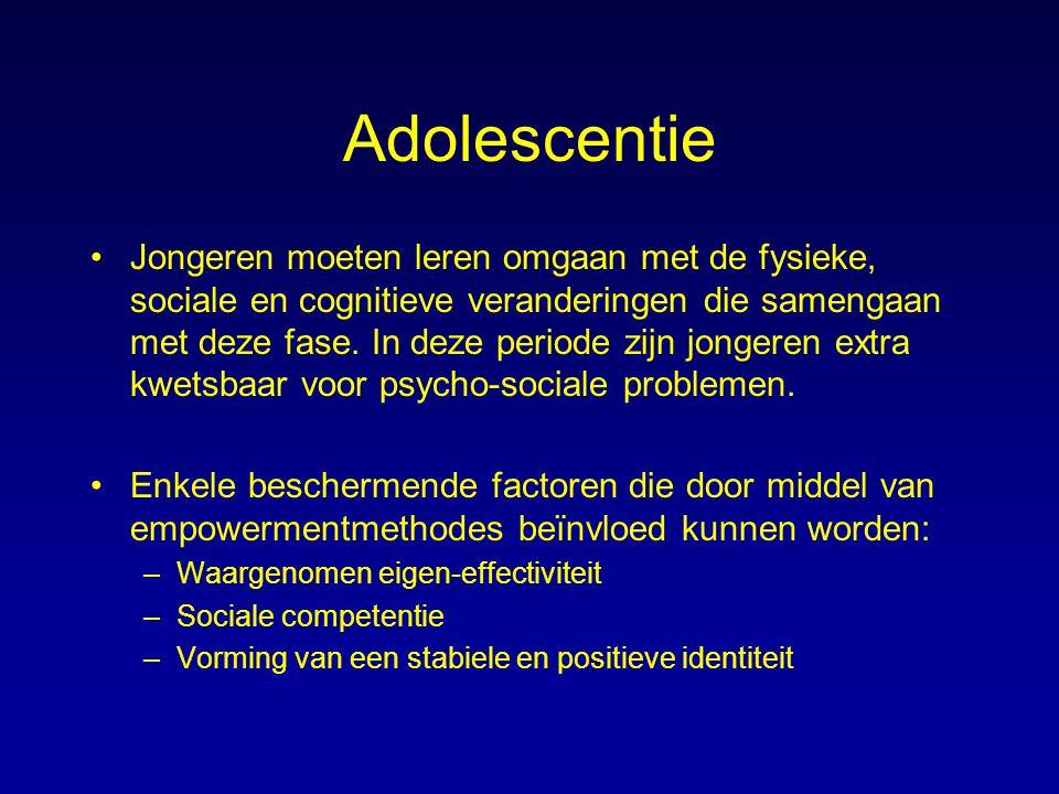 Adolescentie Jongeren moeten leren omgaan met de fysieke, sociale en cognitieve veranderingen die samengaan met deze fase. In deze periode zijn jonger