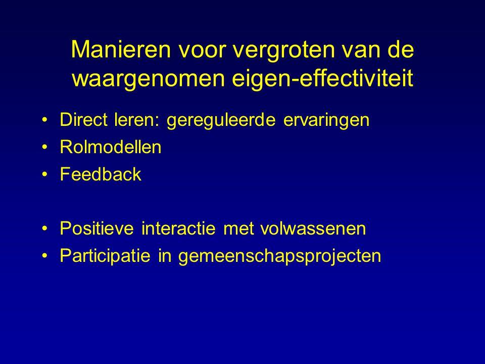Manieren voor vergroten van de waargenomen eigen-effectiviteit Direct leren: gereguleerde ervaringen Rolmodellen Feedback Positieve interactie met vol