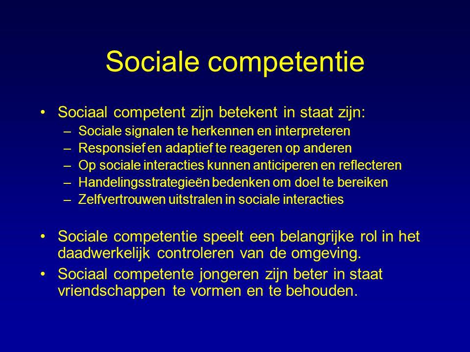 Sociale competentie Sociaal competent zijn betekent in staat zijn: –Sociale signalen te herkennen en interpreteren –Responsief en adaptief te reageren