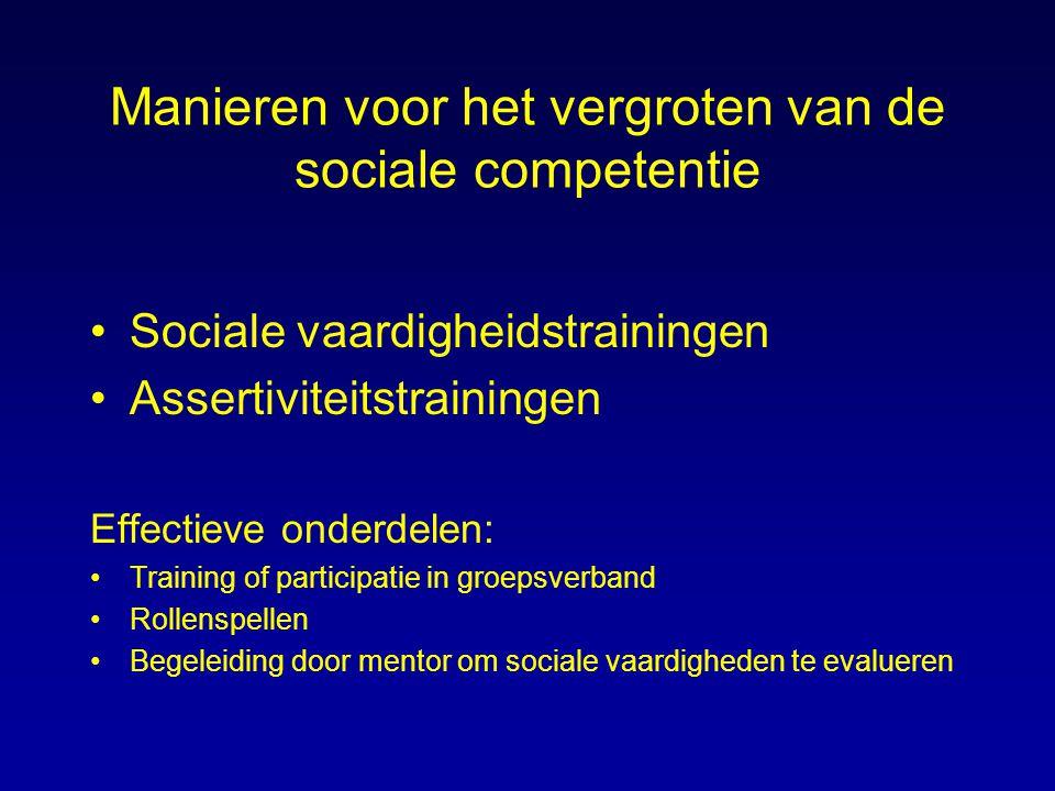 Manieren voor het vergroten van de sociale competentie Sociale vaardigheidstrainingen Assertiviteitstrainingen Effectieve onderdelen: Training of part