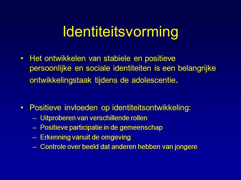 Identiteitsvorming Het ontwikkelen van stabiele en positieve persoonlijke en sociale identiteiten is een belangrijke ontwikkelingstaak tijdens de adol