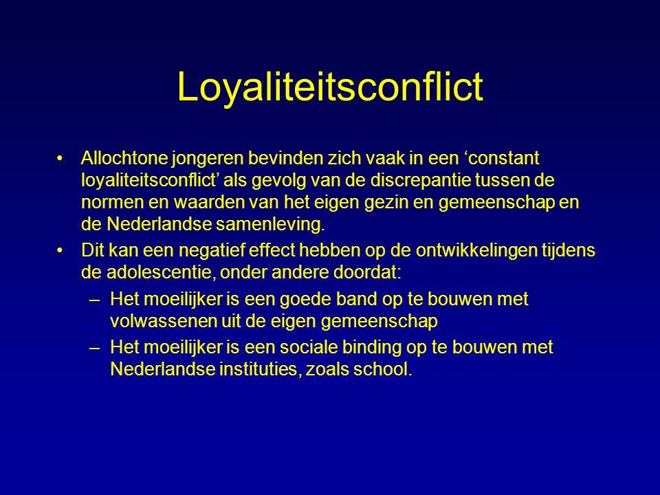 Loyaliteitsconflict Allochtone jongeren bevinden zich vaak in een 'constant loyaliteitsconflict' als gevolg van de discrepantie tussen de normen en wa