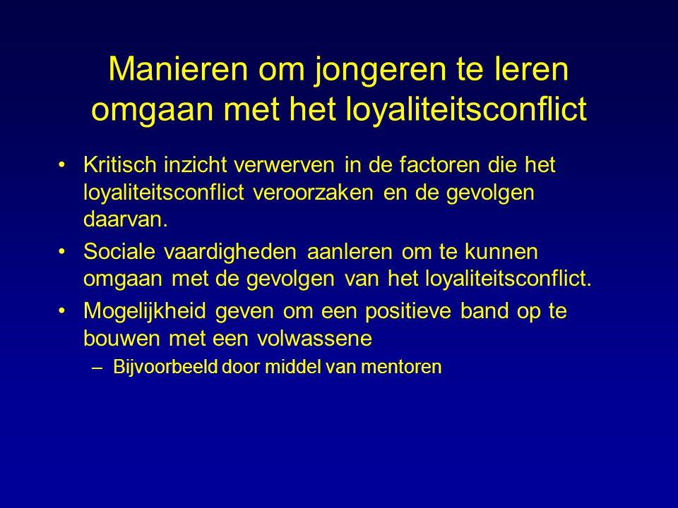 Manieren om jongeren te leren omgaan met het loyaliteitsconflict Kritisch inzicht verwerven in de factoren die het loyaliteitsconflict veroorzaken en