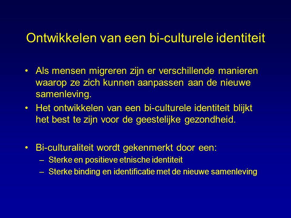 Ontwikkelen van een bi-culturele identiteit Als mensen migreren zijn er verschillende manieren waarop ze zich kunnen aanpassen aan de nieuwe samenlevi
