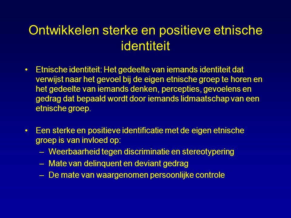 Ontwikkelen sterke en positieve etnische identiteit Etnische identiteit: Het gedeelte van iemands identiteit dat verwijst naar het gevoel bij de eigen